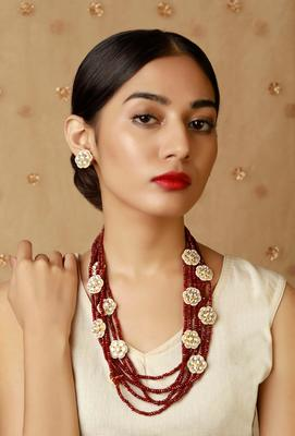 Kundan And Red Onyx Multistrand Necklace With Earrings
