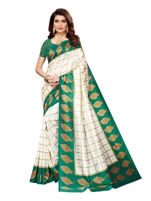 White Printed Silk Blend Sarees With Unstitched Blouse