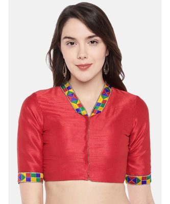 Red Padded Dupion Blouse With Multicolored Lace