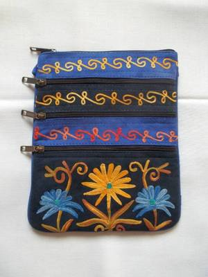 long kashmir suede leather embroidered bag