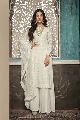 WHITE EMBROIDERED FAUX GEORGETTE SALWAR SEMI STITCHED