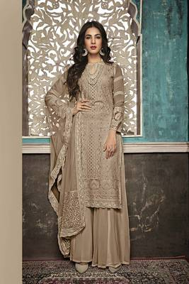 BROWN EMBROIDERED FAUX GEORGETTE SALWAR SEMI STITCHED