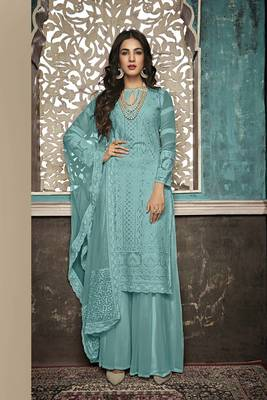 SKY-BLUE EMBROIDERED FAUX GEORGETTE SALWAR SEMI STITCHED