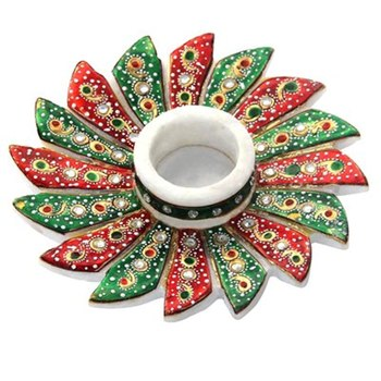 MARBLE FLOWER SHAPED CANDLE HOLDER