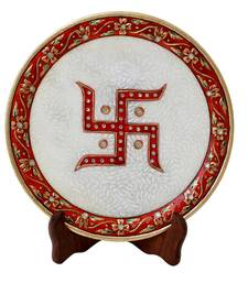 MARBLE DECORATIVE PLATE WITH SWASTIK EMBELLISHED