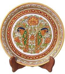 HANDICRAFTS PARADISE MARBLE PLATE WITH PAIR OF PEACOCK AND FLOWERS HPMR15160