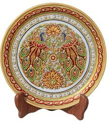 HANDICRAFTS PARADISE PEACOCK WITH BEAUTIFUL FEATHERS ON MARBLE PLATE HPMR15163