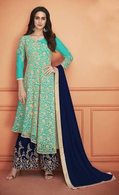 SKY-BLUE EMBROIDERED NET SALWAR SEMI STITCHED