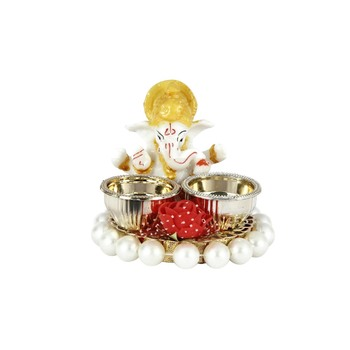 Handicrafts Paradise decorative puja thali / pooja thali / haldi kumkum holder with ganesh and Pearl beads base
