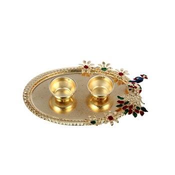 Handicrafts Paradise decorative haldi kumkum holder/ Puja thali / Pooja thali with Enamel Peacock design