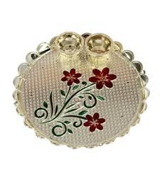 Handicrafts Paradise decorative haldi kumkum holder/ Puja thali / Pooja thali with Enamel Floral design