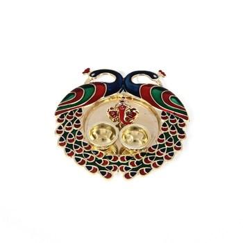 decorative haldi kumkum holder/Puja thali /Pooja thali with 2 enamel Peacocks Ganesha face in centre with 2 katoris