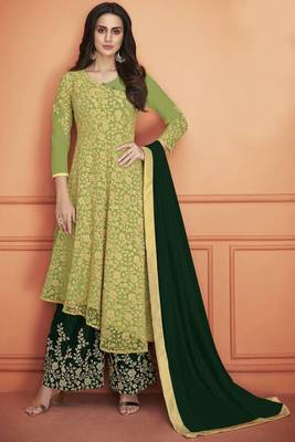PARROT -GREEN EMBROIDERED NET SALWAR SEMI STITCHED