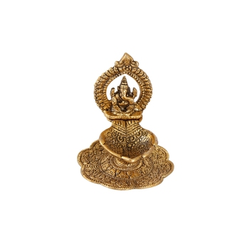 Ganesh Diya in Metal Antique golden finish Handicrafts Paradise