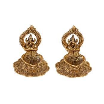 Ganesh Diya Pair in Metal with Swastik engraved in Hand Golden Finish