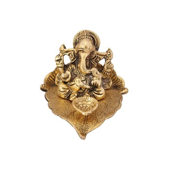 Diya pipal leaf shape with Ganesha antique gold plated