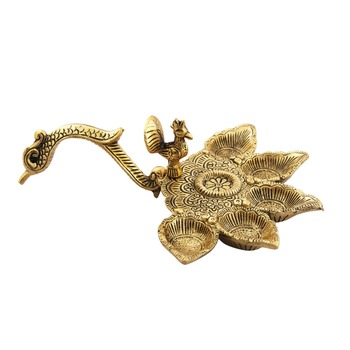 Diya with Peacock handle antique gold plated
