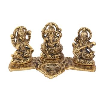 Lakshmi Ganesh Saraswati gold plated with diya