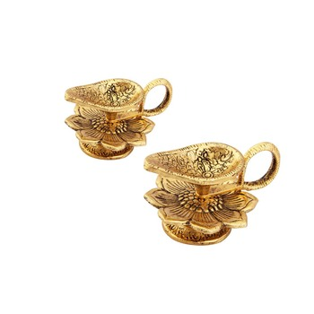 Chirag Diya pair in Metal antique gold plated