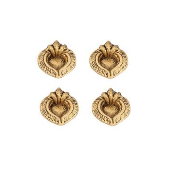 Diya set of 4 pc in metal tripple ganesh face antique golden finish