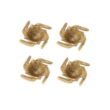 Diya set of 4 pc in metal swastik shape antique golden finish
