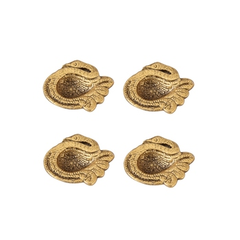 Diya set of 4 pc in metal swan shape antique golden finish