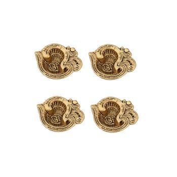 Diya set of 4 pc in metal om shape antique golden finish