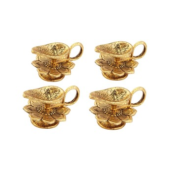 Chirag Diya set of 4 pc in Metal antique gold plated