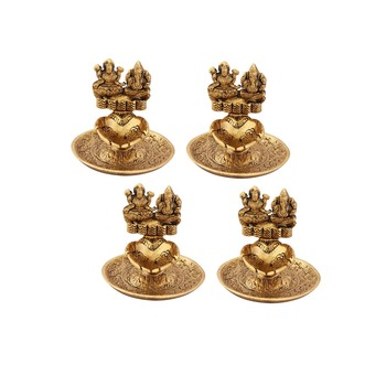 Lakshmi Ganesh hand diya set of 4 pc in metal antique gold plated