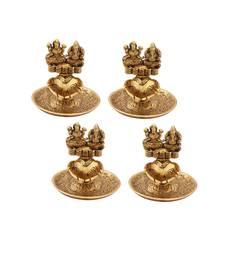 Lakshmi Ganesh hand diya set of 4 pc in metal antique gold plated
