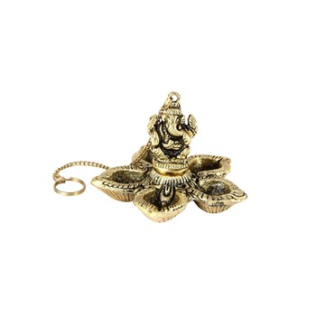 Handicrafts Paradise Ganesh  Paanchmukhi Akhand Diya for Puja Home D  cor Hanging from Celing or Wall
