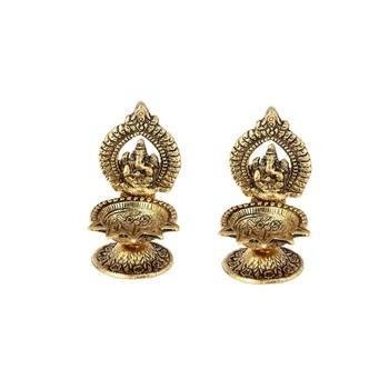 Handicrafts Paradise pair of Diya for Puja Home d  cor Ganesh diya for puja gift