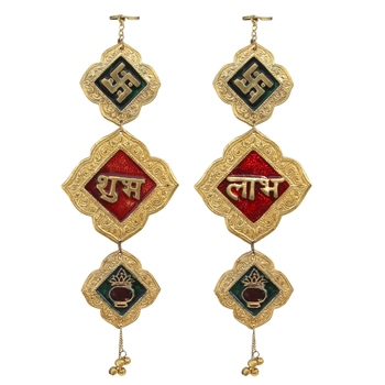 Door Hanging shubh labh Gold Plated in Metal