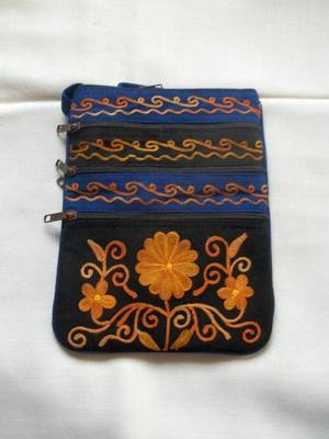black and royal blue suede bag