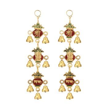 Shree Ganesha nama Kalash  shaped hanging pair with bells in metal