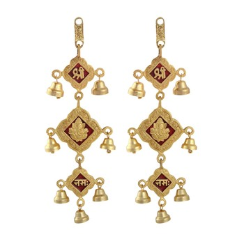Door hanging set of 2 pc in metal with bells shree ganesha nama motiff