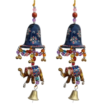 Door Hanging Blue Painted Bell With Jhalar Golden Elephant With Metal Bell Set of 2