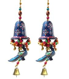 Door Hanging Blue Painted Bell With Jhalar Blue Peacock With Metal Bell Set of 2