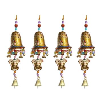 Door Hanging Golden Painted Bell With Jhalar Golden Ganesha With Metal Bell Set of 4