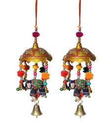 Door Hanging umbrella with Elephant Painted and metal bell set of 2