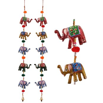 Door Hanging pair of 5 paper machie elephants with pumpum
