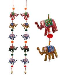 Door Hanging pair of 5 paper machie elephants with pumpum