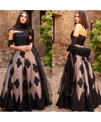 black embroidered japan satin  blouse stylish lahengha choli