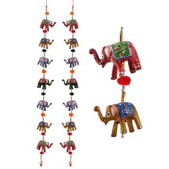 Door Hanging pair of 7 paper machie elephants with pumpum