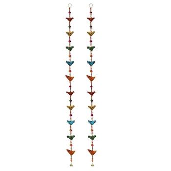 Door Hanging Pair of Multi color cloth ten birds with wooden beads and metal bell