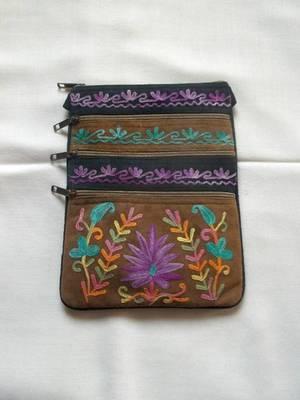 kashmir beige embroidered suede bag