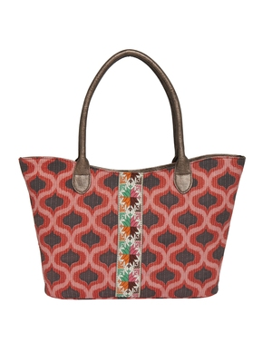 Tarusa red cotton material geometric tote bag for women's