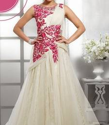 Buy Raksha BandhanSpecial Off White and Pink embroidered Net party wear gown readymade-suit online