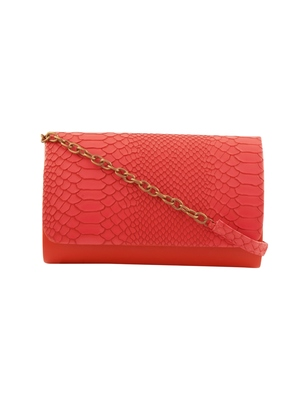 Tarusa orange  faux leather snake work sling bag for women