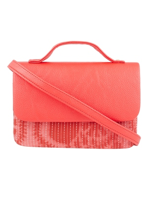 Tarusa red cotton abstract  sling bag for women
